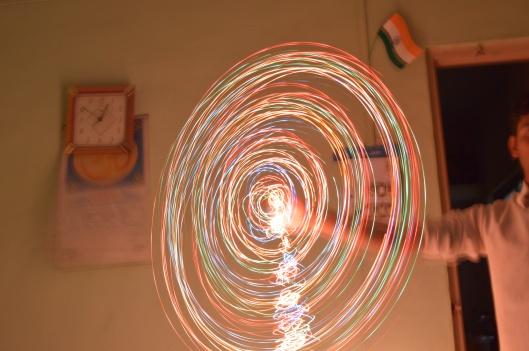 Lights spin.